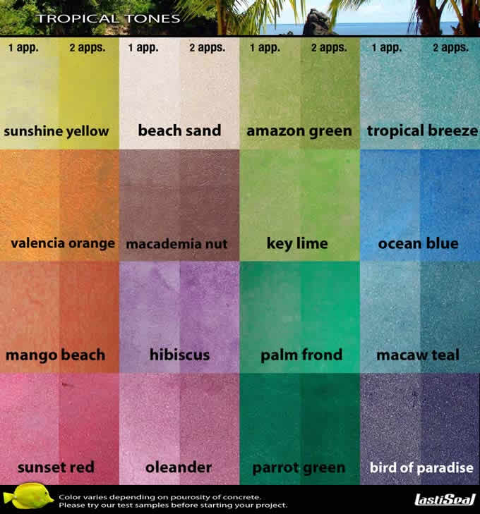 Concrete Dye Stain Color Chart