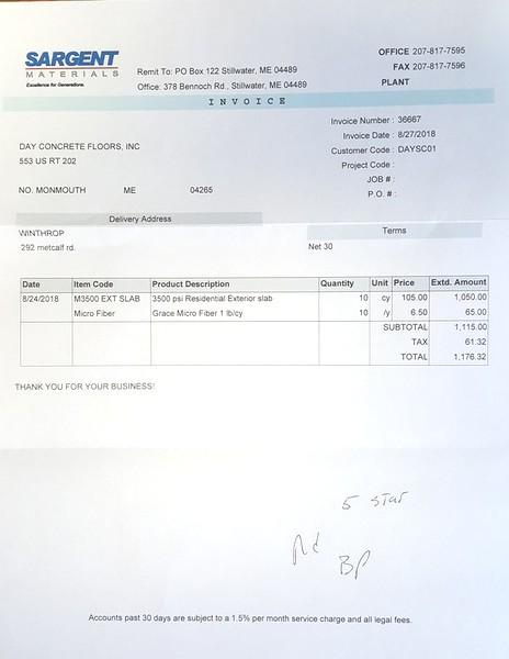 My ready mix concrete prices for 3000, 3500, & 4000 psi concrete