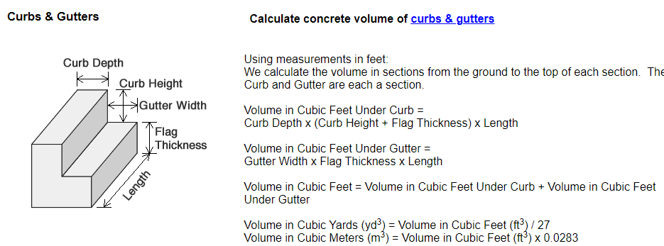 Formula to calculate concrete for curb and gutter