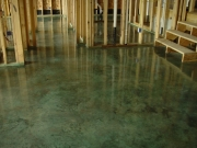 green acid stained floor