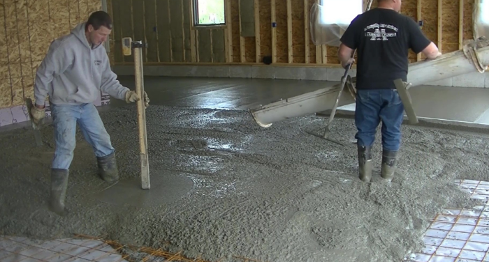how to pour a concrete floor in an existing garage