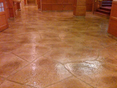 Decorative concrete overlay with a stone pattern