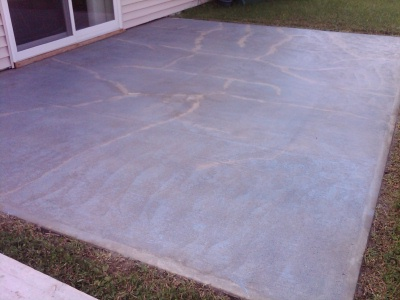 concrete patio before an overlay is applied