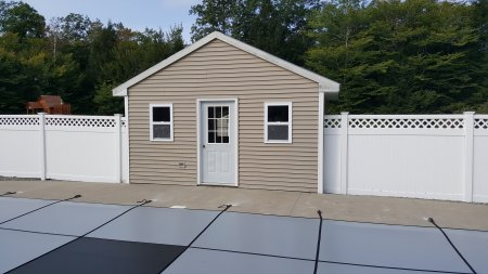 A 16' x 12' shed on a concrete slab