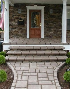 CONCRETE PORCH STEPS - Decorative concrete porch steps and entries