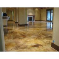 Acid Stained Living Room Lying Concrete Floor