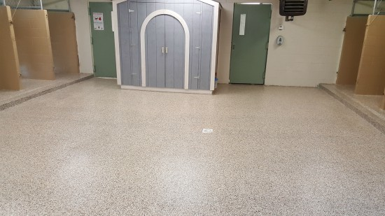 after pic of polyaspartic 1 day floor
