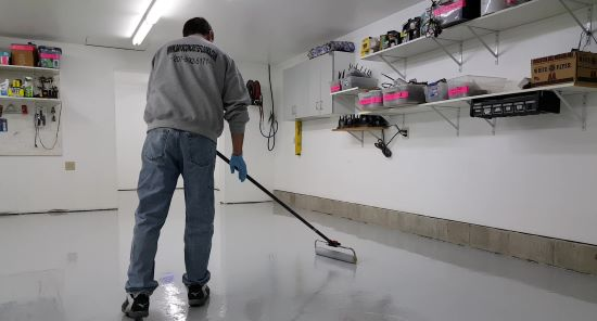 Epoxy paint a garage floor