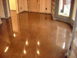 Polished concrete floor with dye stain