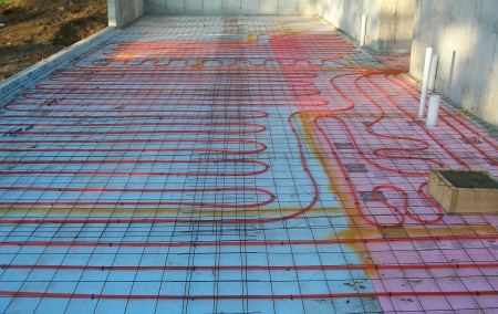 Radiant Floor Heating Tubes Tied To Wire Mesh